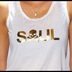 Gold and white soul cycle tank size small